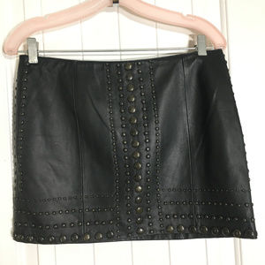 Haute Hippie Black Lambskin Studded Mini Skirt S